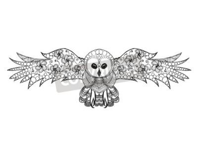 Aves. doodle dibujado mano blanca negra. ilustración de vector ...