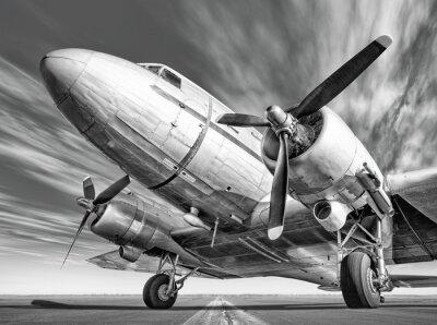Cuadro Avión histórico en una pista de aterrizaje