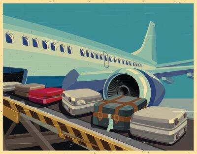 Cuadro Aviones civiles y equipaje viejo poster