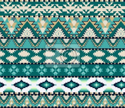 Aztecas Sin Fisuras Patrón De Color De Frío Pinturas Para La Pared