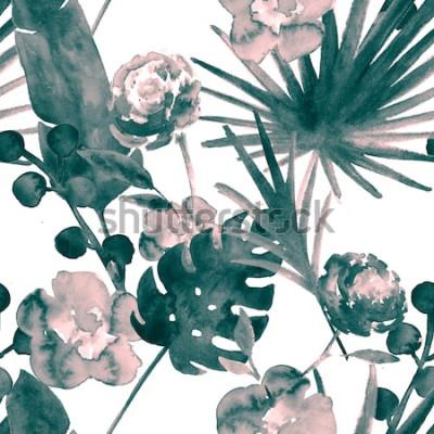 Cuadro Azul turquesa bohemio retro exótico floral acuarela de patrones sin fisuras. Fondo de tela femenina suave con plátano, hojas de abanico, rosas. Acuarela floral de patrones sin fisuras Tropical Wallpap