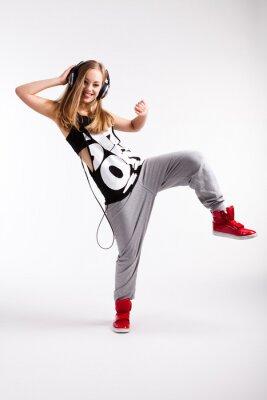 Cuadro Bailarín de hip-hop con los auriculares