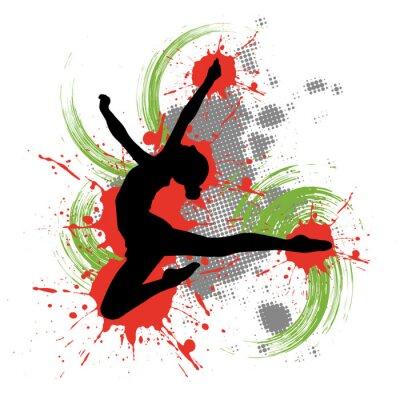 Cuadro Bailarín delante del fondo colorido con toques de color