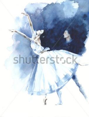 Cuadro Bailarina bailarina de ballet Giselle acuarela pintura ilustración tarjeta de felicitación