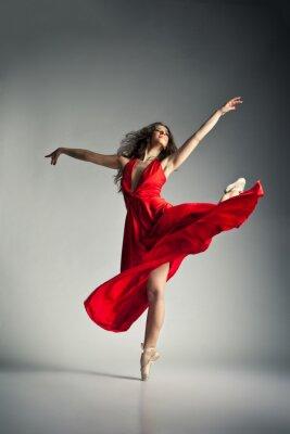 Cuadro Bailarina de ballet con vestido rojo sobre gris