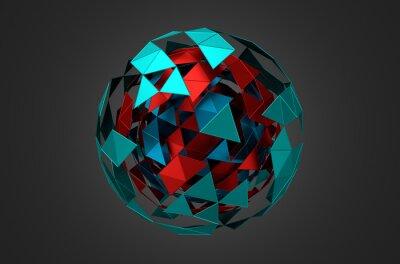 Cuadro Bajo Poli metal Esfera con estructura caótica.
