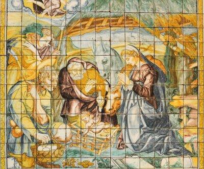 Cuadro Baldosa de cerámica religiosa, Natividad, Lisboa, Portugal