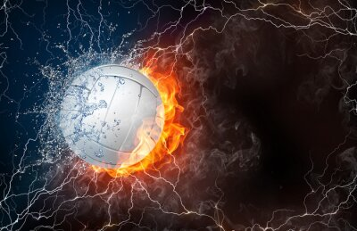 Cuadro Balón de Voleibol en el fuego y el agua