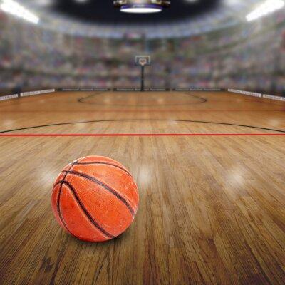 Cuadro Baloncesto Arena con la pelota en la Corte y el espacio de copia. Rendido en Photoshop.
