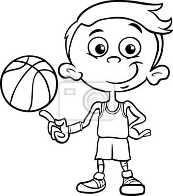 Baloncesto chico página jugador colorear pinturas para la pared ...