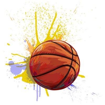 Cuadro Baloncesto Creado por el artista profesional. Esta ilustración es creado por Wacom tabletby usando grunge texturas y pinceles