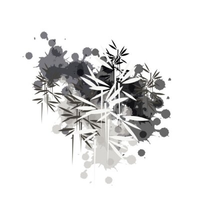 Cuadro bamboo forest illustration in black ink