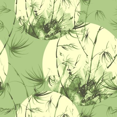 Cuadro Bamboo watercolor stems and leaves seamless pattern. painting of bamboo forest on textured paper. Decorative watercolor bamboo, jungle, thickets. silhouette branches, tropics
