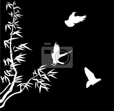 Cuadro bambú blanco y pájaros pequeños
