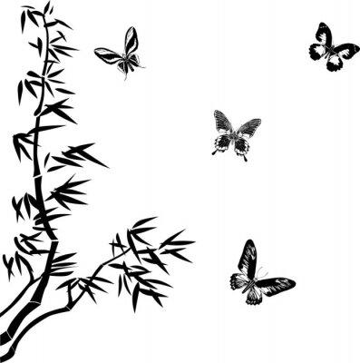bambú y siluetas de mariposas