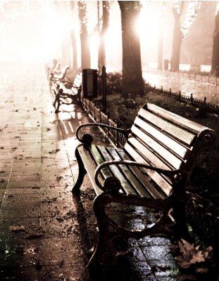 Cuadro Banco en callejón de noche con luces en Odessa,