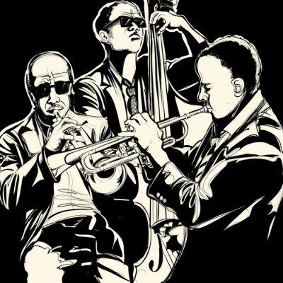 Cuadro banda de jazz con la trompeta y contrabajo