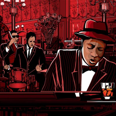 Cuadro banda de piano-jazz en un restaurante