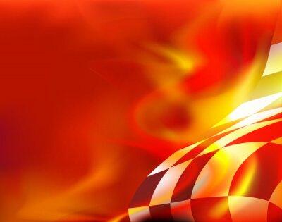 Cuadro Bandera a cuadros de fondo y llamas rojas