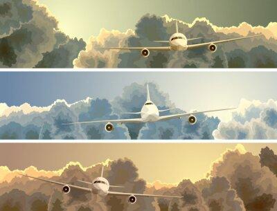 Cuadro Bandera horizontal del avión entre las nubes.