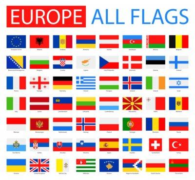 Cuadro Banderas de Europa - colección completa del vector. Vector Conjunto de banderas europeas planas.
