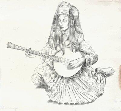 Cuadro Banjo Jugador - ilustración vectorial (convertido)
