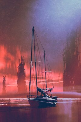 Cuadro Barco de vela en la playa contra los edificios abandonados en el mar al atardecer con estilo de arte digital, pintura de ilustración