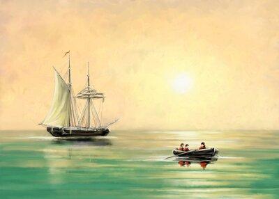 Cuadro Barco y barco, paisaje marítimo, pinturas digitales de petróleo