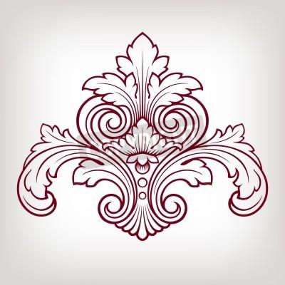 Cuadro Barroco elemento patrón del marco del diseño floral de la vendimia grabado de estilo retro