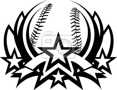 36040246a2b4d Baseball vector plantilla gráfica con estrellas pinturas para la ...
