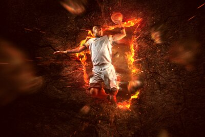 Cuadro Basketball Player on Fire