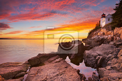 Bass Harbor Head Lighthouse, Acadia NP, Maine, USA at sunset