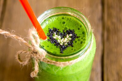 Cuadro Batido verde con el corazón de las semillas