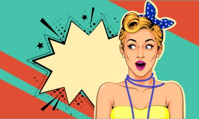 Cuadro Beautiful surprised pin up girl vector illustration in pop art style
