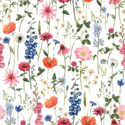Cuadro Beautiful vector floral summer seamless pattern with watercolor hand drawn field wild flowers. Stock illustration.