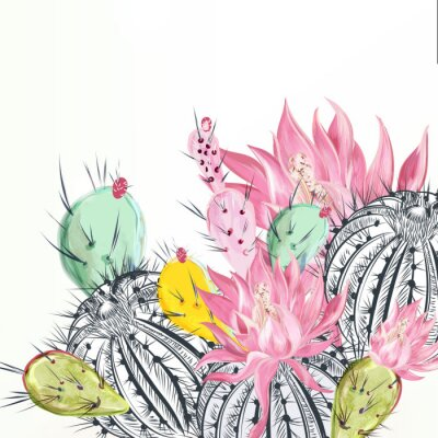 Cuadro Beautiful vector illustration with cactus plants and flowers