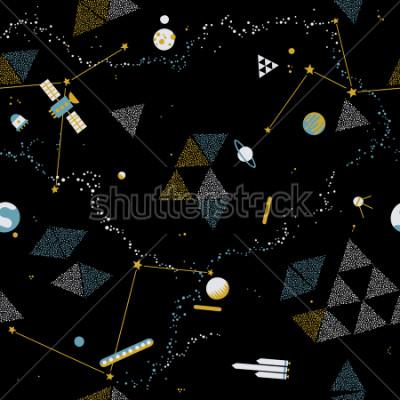 Cuadro Bebé sin patrón - espacio, naves espaciales y planetas con estrellas. Niños de moda vector de fondo.