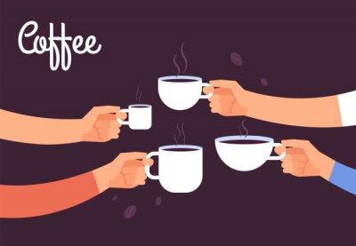 Cuadro Beber el concepto de café. Los amigos toman café para el desayuno. Romper en la oficina con el concepto de vector de espresso. Ilustración de la bebida de café, café de la mañana del desayuno con café