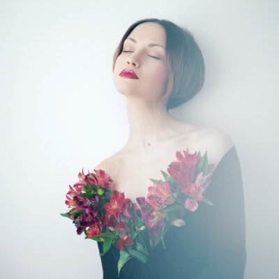 Cuadro Bella dama con flores