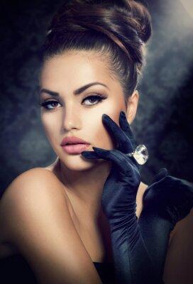 Cuadro Belleza Fashion Girl Portrait. Chica Estilo Vintage Con Guantes