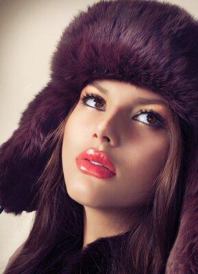Cuadro Belleza Modelo de modas Chica en un sombrero de piel