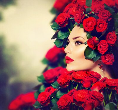 Cuadro Belleza Modelo de modas, Retrato con Rosas Rojas Peinado