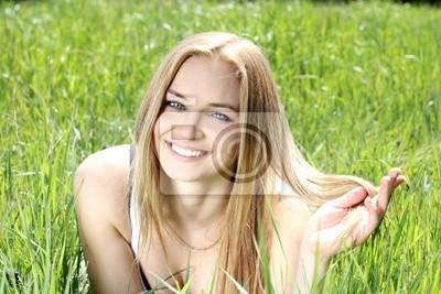 Cuadro Belleza Mujeres sonrientes youang con el pelo rubio
