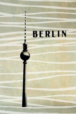 Cuadro Berlín Vintage postal - tv torre y las letras en backg abstracto