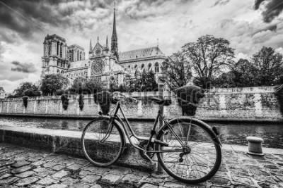Cuadro Bicicleta retro junto a la catedral de Notre Dame en París, Francia y el río Sena. Vintage blanco y negro