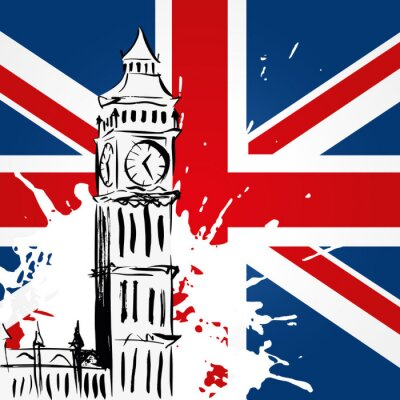 Cuadro Big Ben delante del Union Jack