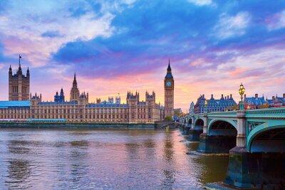Cuadro Big Ben y el puente de Westminster con Río Támesis