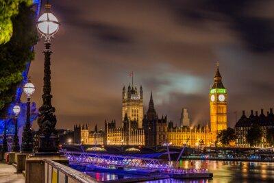 Cuadro Big Ben y el puente de Westminster en la noche, Londres, Reino Unido