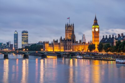 Cuadro Big Ben y el puente de Westminster en la oscuridad, Londres, Reino Unido