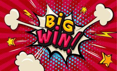 Cuadro Big Win! Pop art cloud bubble. Funny speech shopping sale icon bubble. Trendy Colorful retro vintage comic background in pop art retro comic style. Illustration easy editable for Your design.